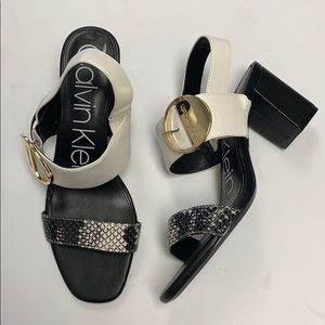 Calvin Klein block heel snakeskin sandal